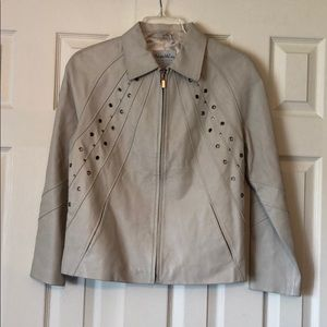 Pamela McCoy Off-White Leather Jacket EUC